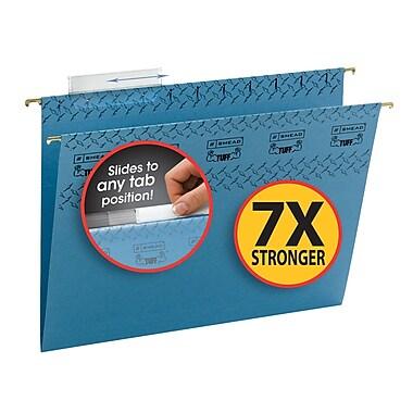 Smead® TUFF® Hanging File Folder with Easy Slide Tab, 1/3-Cut Sliding Tab, Letter Size, Blue, 18/Box (64041)