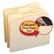 Smead® CutLess® File Folder, 1/3-Cut Tab, Letter Size, Manila, 100/Box (10341)
