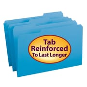 Smead®  File Folder, Reinforced 1/3-Cut Tab, Legal Size, Blue, 100 per Box (17034)