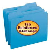 Smead® File Folder, Reinforced 1/3-Cut Tab, Letter Size, Blue, 100/Box (12034)