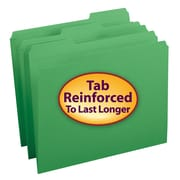 Smead® File Folder, Reinforced 1/3-Cut Tab, Letter Size, Green, 100/Box (12134)