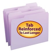 Smead® File Folder, Reinforced 1/3-Cut Tab, Letter Size, Lavender, 100/Box (12434)
