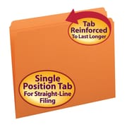 Smead®  File Folder, Reinforced Straight-Cut Tab, Letter Size, Orange, 100 per Box (12510)