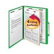"Smead® Classification File Folder, 1 Divider, 2"" Expansion, Letter Size, Green, 10/Box (13702)"