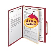 "Smead® Classification File Folder, 1 Divider, 2"" Expansion, Letter Size, Red, 10/Box (13703)"