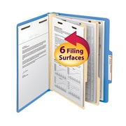 "Smead® Classification File Folder, 2 Divider, 2"" Expansion, Letter Size, Blue, 10/Box (14001)"