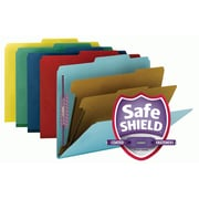 "Smead® Pressboard Classification File Folder w/ SafeSHIELD® Fasteners, 2 Dividers, 2"" Exp., Letter, Assorted, 10/Box (14025)"