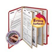 "Smead®  Pressboard Classification Folder SafeSHIELD® Fasteners, 3 Dividers, 3"" Exp, Letter Size, Bright Red, 10 per Box (14095)"