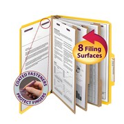 "Smead®  Pressboard Classification Folder SafeSHIELD® Fasteners, 3 Dividers, 3"" Exp, Letter Size, Yellow, 10 per Box (14098)"
