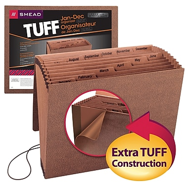 Smead® TUFF® Expanding File, Monthly (Jan.-Dec.), 12 Pockets, Flap and Elastic Cord Closure, Letter Size, Redrope Stock (70388)