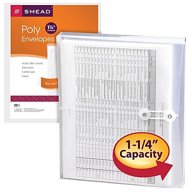 Smead® Poly Envelope, 1-1/4in. Expansion, String-Tie Closure, Side Load, Letter Size, Clear, 5 Pack (89521)