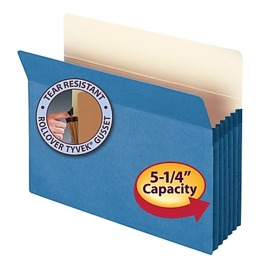 Smead® File Pocket, Straight-Cut Tab, 5-1/4in. Expansion, Letter Size, Blue, Each (73235)