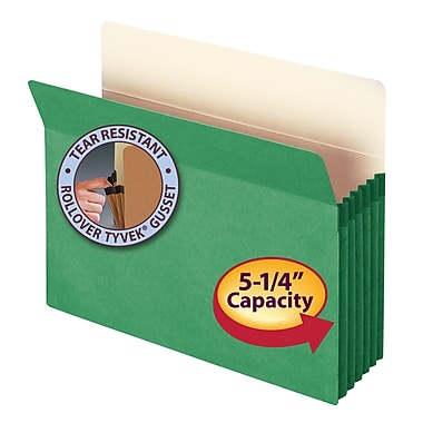 Smead® File Pocket, Straight-Cut Tab, 5-1/4in. Expansion, Letter Size, Green, Each (73236)