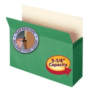 "Smead® File Pocket, Straight-Cut Tab, 5-1/4"" Expansion, Letter Size, Green, Each (73236)"