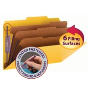 """Smead® Pressboard Classification File Folder with SafeSHIELD® Fasteners, 3 Dividers, 3"""" Exp., Legal, Yellow, 10/Box (19098)"""