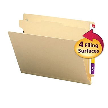 Smead® End Tab Classification File Folder, 1 Divider, 2