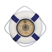 Handcrafted Nautical Decor Decorative Lifering 12'' Clock w/ Bands; Blue