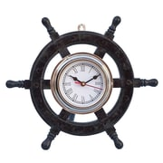 Handcrafted Nautical Decor Deluxe Class 12'' Wood & Chrome Pirate Ship Wheel Clock; Chrome