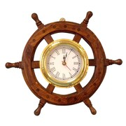 Handcrafted Nautical Decor Deluxe Class 12'' Wood & Chrome Pirate Ship Wheel Clock; Brass