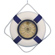 Handcrafted Nautical Decor Decorative Lifering  18'' Clock w/ Bands; Blue