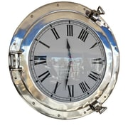 Handcrafted Nautical Decor Deluxe Class Porthole 20'' Clock; Chrome