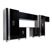 NewAge Products Performance Plus Series 7' H x 15' W x 2' D 9 Piece Cabinet Set; Black