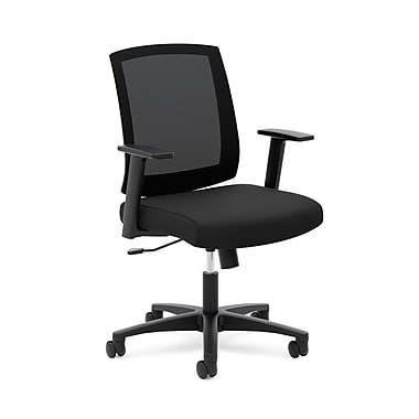 basyx by HON® HVL511 Mesh Mid-Back Task Chair, Center-Tilt, Fixed Arms, Black Mesh, Black Fabric