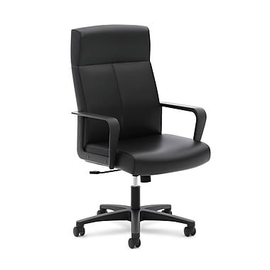 basyx by HON® High-Back Executive Chair, Center-Tilt, Fixed Arms, Black SofThread Leather