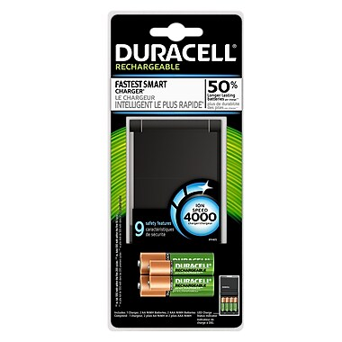 Duracell® Battery Charger Ion Speed 4000 with 2AA & 2AAA Rechargeable Batteries