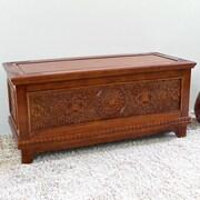 International Caravan Windsor Hand Carved Wood Bench/Trunk