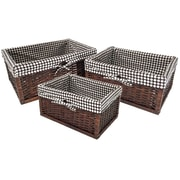 Wee's Beyond 3 Piece Rattan Storage Basket with Linen
