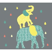 Eco Wall Decals 15 Piece Elephant Wall Decal Set; Yellow