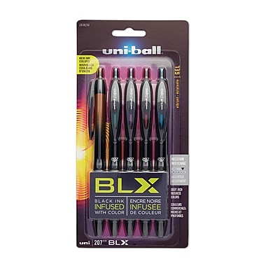 uni-ball® 207 BLX Retractable Gel-Ink Pens, Medium, Assorted Colors, 5/pk (1838294)