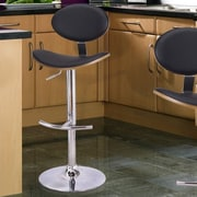 AdecoTrading Adjustable Height Swivel Bar Stool w/ Cushion; Black