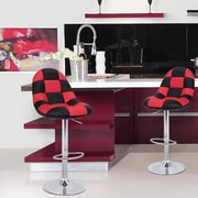 AdecoTrading Adjustable Height Swivel Bar Stool w/ Cushion (Set of 2); Black/Red