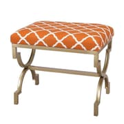 AdecoTrading Modern Style Fabric Bench Ottoman; Orange