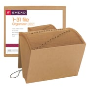 Smead® Expanding File, Daily (1-31), 31 Pockets, Flap and Cord Closure, Letter Size, Kraft (70168)