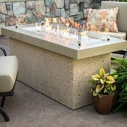 The Outdoor GreatRoom Company Key Largo Crystal Fire Pit Table w/ Base; Brown and Serengeti