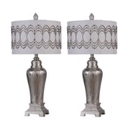 Jenkins Lamp, Inc. 33'' Cannington Silver Lamp w/Ornate Silver Metal-Trimmed Linen Shade (Set of 2)