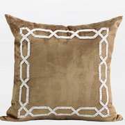 Gentille Home Collection Handmade Textured Frame Beaded Throw Pillow; Gold