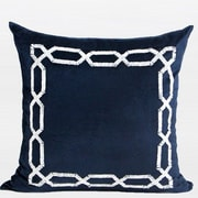 Gentille Home Collection Handmade Textured Frame Beaded Throw Pillow; Blue