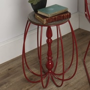 Kate and Laurel Tenterden Metal/Wood End Table; Red