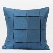 Gentille Home Collection Check Metallic Throw Pillow; Blue