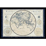Buy Art For Less 'World Map (Plan De Meridien)' by Sue Schlabach Framed Graphic Art