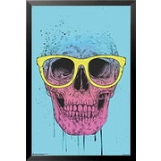 Buy Art For Less 'Pop Art Skull with Glasses' by Balazs Solti Framed Graphic Art