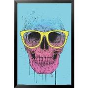 Buy Art For Less 'Pop Art Skull w/ Glasses' by Balazs Solti Framed Graphic Art