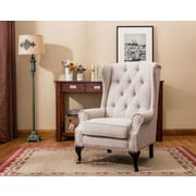 Best Quality Furniture Wingback Chair; Beige
