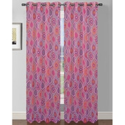 Window Elements Olivia Printed Extra Wide Sheer Single Curtain Panel; Pink