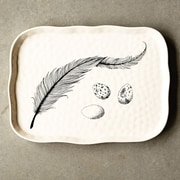 Creative Co-Op Secret Gadern Stoneware Plate with Feather and Egg