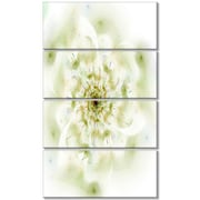 DesignArt 'Full Bloom Fractal Flower in White' 4 Piece Graphic Art on Wrapped Canvas Set